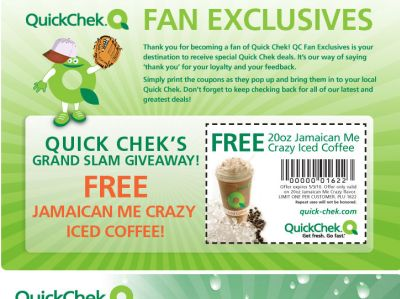 Quick Chek Printable Coupon for a Free Jamaican Me Crazy Iced Coffee - Exp. May 3, 2010