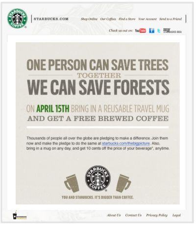 Starbucks Free Brewed Coffee on April 15, 2010 for Bringing a Reusable Travel Mug - April 15, 2010 Only, Canada and US