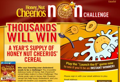 Honey Nut Cheerios Non Challenge Instant Win Game for Free Coupons - US