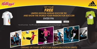 Kellogg's Free Limited Edition Adidas Soccer Tee T-Shirt - Exp. Aug. 10, 2010, Canada