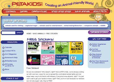 PETAKids.com Free Stickers - International