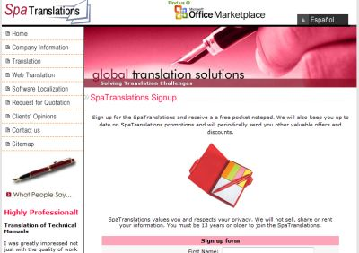 SpaTranslations Free Pocket Notepad - Australia, Canada, Spain, UK and US