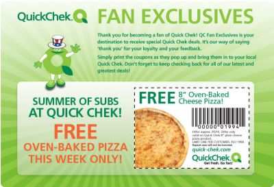 QuickChek Coupon for a Free 8 Oven-Baked Cheese Pizza - Exp. July 5, 2010, US