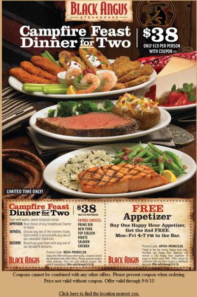 image relating to Black Angus Printable Coupons called Black Angus Steakhouse Campfire Feast Printable Coupon Exp