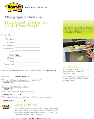 3M Free Sample of 3M Post-it Durable Tabs and Label Pads - US