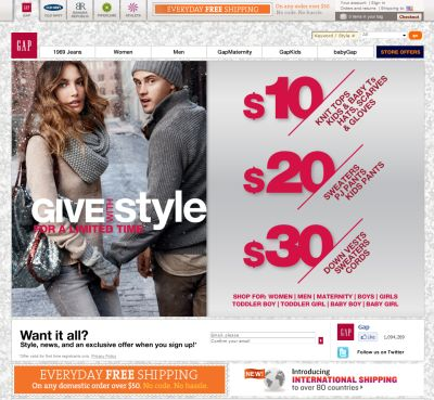 Gap Black Friday Sale: $10, $20, $30 Gifts - Exp. November 27, 2010