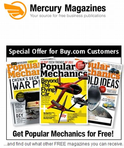 Mercury Magazines Free One Year Subscription to Popular Mechanics Magazine - US