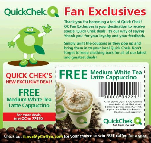 QuickChek Free Printable Coupon for a Fre Medium White Tea Latte Cappuccino - US