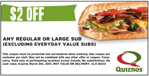 image relating to Quizno Printable Coupons identify Quiznos Absolutely free Help you save $2 Coupon Off Any Every month or Massive Sub