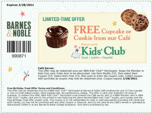 Barnes & Noble Kids' Club Free Printable Coupon for a Free Cupcake or Cookie - Exp. March 28, 2011, US