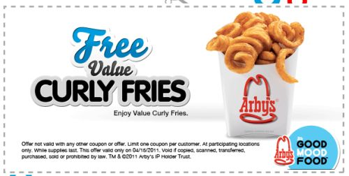 Arby's Free Printable Coupon for Free Value Curly Fries - Exp. April 15, 2011