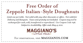 Maggiano's Little Italy Free Order of Zeppole Italian-Style Doughnuts - Exp. May 4, 2011