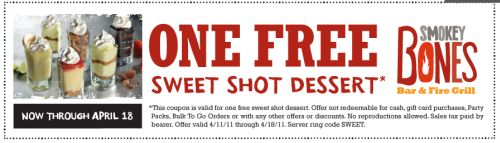 Smokey Bones Bar and Fire Grill Free Sweet Shot Dessert Printable Coupon - April 11 to 18, 2011