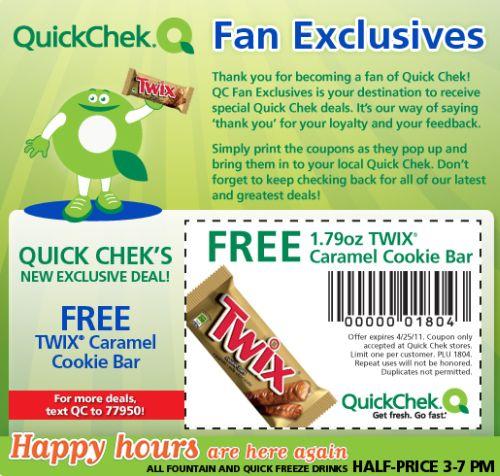 Quick Chek Free Printable Coupon for a Free Twix Caramel Cookie Bar - Exp. April 25, 2011