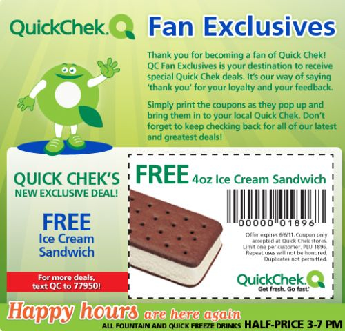 QuickChek Free Printable Coupon for a Free 4oz. Ice Cream Sandwich - Exp. June 6, 2011