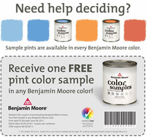 image relating to Benjamin Moore Printable Coupon identified as Benjamin Moore Shade Totally free Pint of Paint Colour Pattern Exp