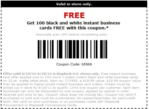 Staples Free 100 Black And White Business Cards Printable Coupon