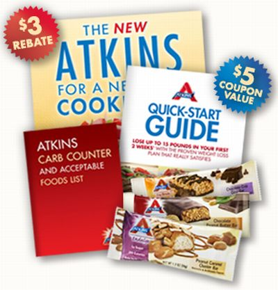 Atkins Free Bars, Quick Start Guide, Cookbook and More - Canada and US