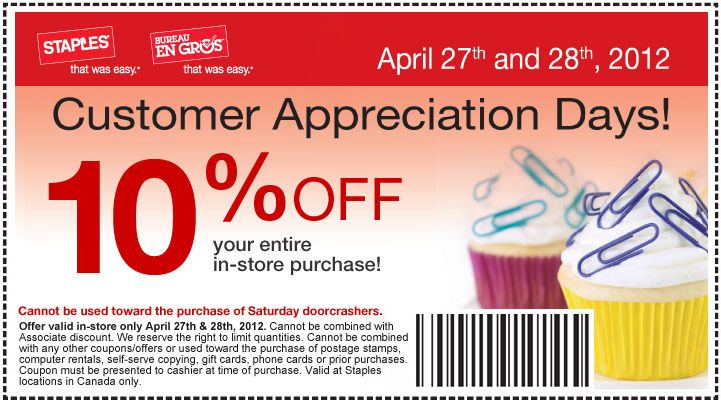 free printable coupon to save 10 off on your entire in store purchase at staples bureau en gros customer appreciation days apr 27 and 28 2012 canada
