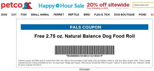 Free Printable Coupon for Free 2.75 oz. Natural Balance Dog Food Roll from Petco PALS - Exp. May 31, 2012