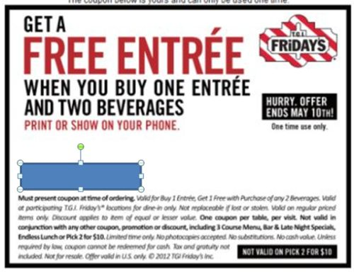picture relating to Tgifridays Printable Coupons known as Absolutely free Printable Coupon for Cost-free Entree Any time Yourself Purchase 1