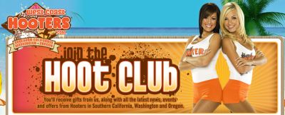 Free Gifts, News, Events and offers from Hooters in Southern California, Washington and Oregon for Joining the Hoot Club - CA, OR and WA