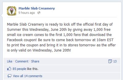 Free Small Ice Cream Cone at Marble Slab on June 20, 2012 at 10 a.m. Eastern Time for the First 1,000 Facebook Fans