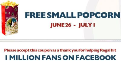 Free Printable Coupon for a Free Small Popcorn at Regal Cinemas - Exp. July 1, 2012