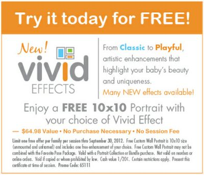 Free Printable Coupon for a Free 10x10 Portrait with Your Choice of Vivid Effect at Kiddie Kandids Portrait Studio