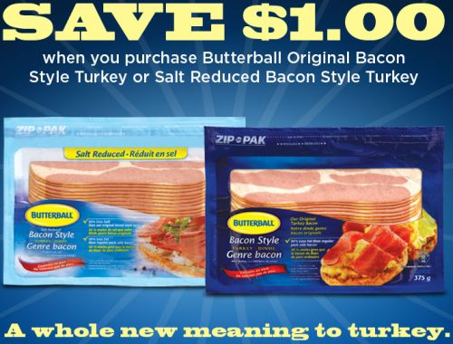 Butterball Canada Save $1 off on Bacon Style Turkey via ...