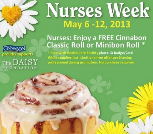 Cinnabon Canada Free Cinnabon Classic or Mini Roll for Nurses from May 6 to 12, 2013, Canada