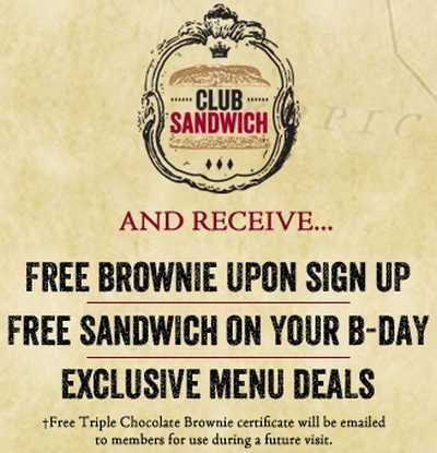 Earl of Sandwich eClub Free Brownie and Free Sandwich on Birthday - US