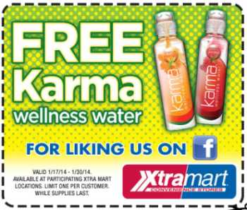 XtraMart Convenience Stores Free Printable Coupon for Karma Wellness Water - January 30, 2014, US