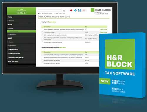 H&R Block Online or Download Tax Software for First Free Return - Exp. March 31, 2014, Canada