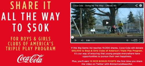 MyCokeRewards Share the Coca-Cola Big Game Ad and Get 10 MCR Bonus Points - US