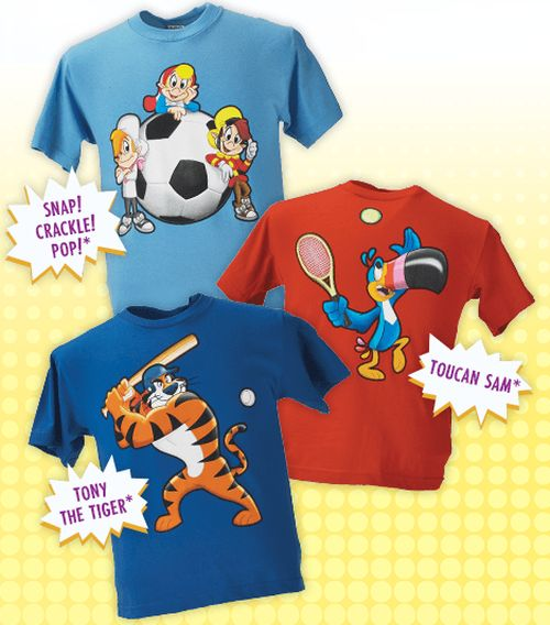 Kellogg's Cereal Free Kids T-Shirt by Redeeming Two Pin Codes from Specially Marked Boxes - Canada