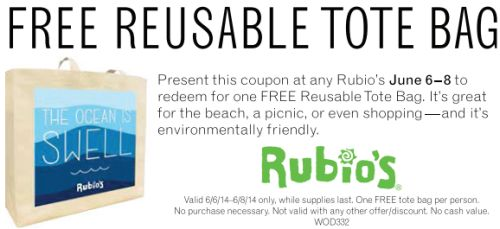 Rubio's Printable Coupon for a Free Reusable Tote Bag - June 6 to 8, 2014, US