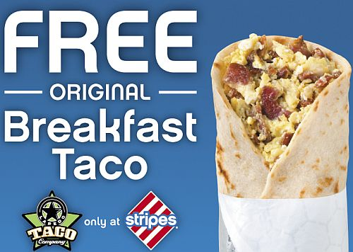 Laredo Taco Company at Stripes Printable Coupon for a Free Original Breakfast Taco - Jun 9 - 10, 2014 Only