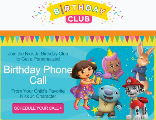 Nick Jr. Birthday Club Free Personalized Birthday Phone Call