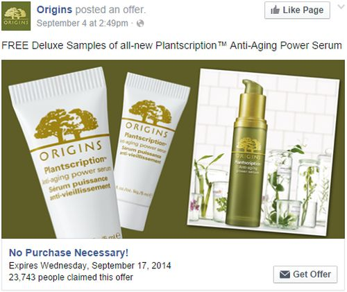 Origins Free Plantscription Anti-Aging Power Serum Samples via Facebook - Exp. September 17, 2014