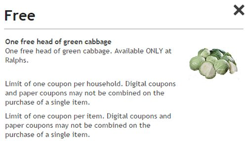 Ralphs Digital Coupons Free One Head of Green Cabbage - Exp. March 16, 2015