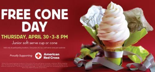 Carvel Free Free Junior Soft Serve Cup or Cone on April 30, 2015 from 3 to 8 p.m.
