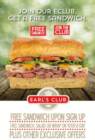 Earl of Sandwich Free Sandwich with Earl's Club eClub Signup - US