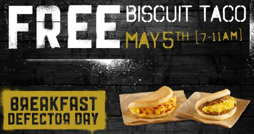 Taco Bell Free Biscuit Taco on May 5, 2015 from 7 - 11 a.m.