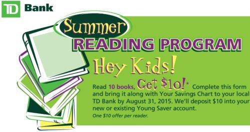 TD Bank Free $10 for Kids When They Read 10 Books by August 31, 2015