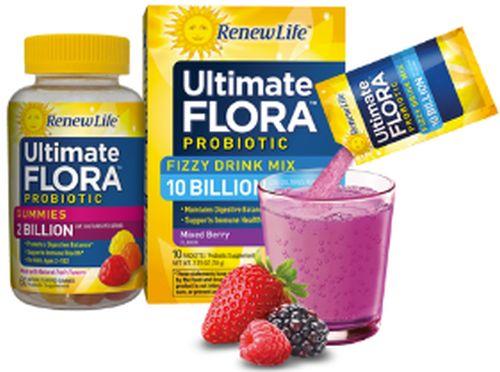 Renew Life Ultimate Flora Probiotics Free Sample of Probiotic Gummies and Fizzy Drink Mix