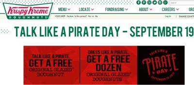 Krispy Kreme Doughnuts Talk Like a Pirate Day Original Glazed Doughnut
