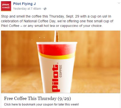 Pilot Flying J Coffee, Tea or Cappuccino
