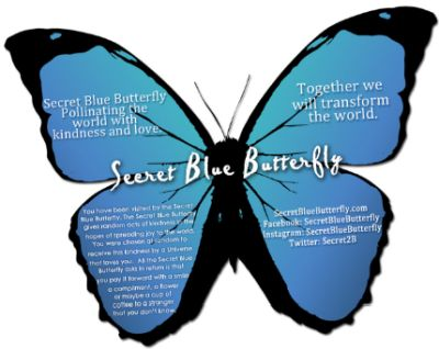 Secret Blue Butterfly Free Pack of 5 Random Acts of Kindness Cards