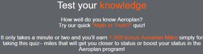 Aeroplan Free 1,000 Points for a Short Quiz